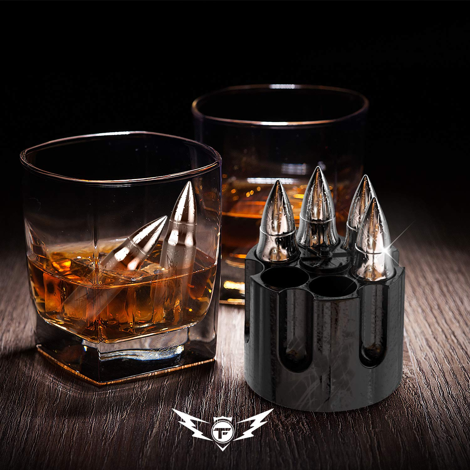 Bullet Shaped Metal Whiskey Stones - 6-Pack Stainless Steel Whiskey Rocks | Metal Ice Cubes to Chill Bourbon, Scotch in Your Whisky Glass - Cool Gifts for Men, Father's Day, Christmas Stocking Stuffer by TF TAKEFLIGHT (Image #2)