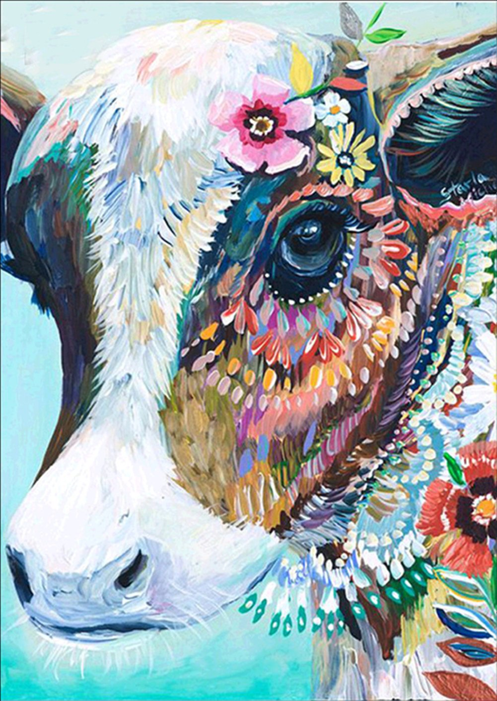 EOBROMD 5D Diamond Painting Full Drill, Crystal Rhinestone Paint with Diamonds Embroidery Pictures Arts Crafts for Home Wall Decor - Cow 12 x 16inch 4336933227