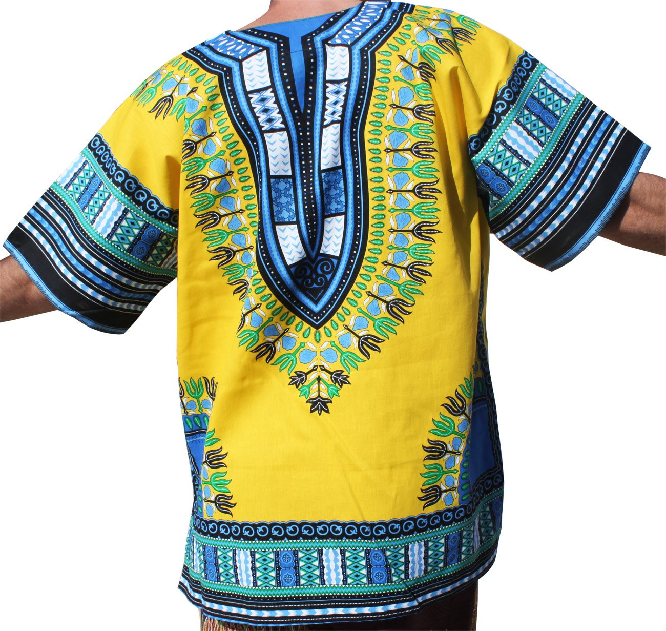RaanPahMuang Brand Unisex Bright Colour Cotton Africa Dashiki Shirt Plain Front, X-Large, Amber Yellow by Raan Pah Muang (Image #2)