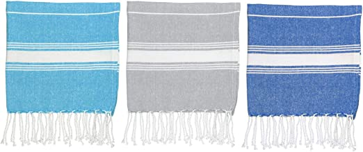 Nicola Spring Turkish Beach//Bath Hammam Peshtemal Fouta Towel Light Blue//Dark Blue Set of 2 Traditional Design 100/% Cotton