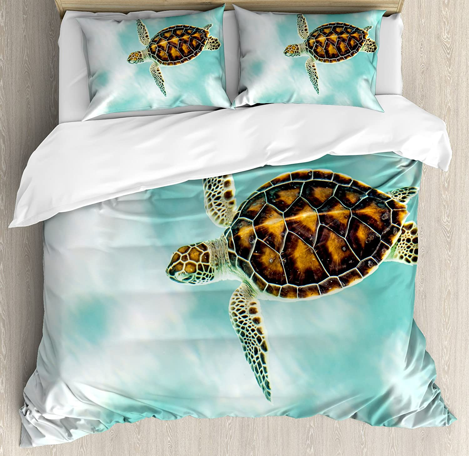Ambesonne Turtle Duvet Cover Set, Baby Turtle Swimming in Abstract Waters Serene Nature Picture, Decorative 3 Piece Bedding Set with 2 Pillow Shams, Queen Size, Coffee Seafoam