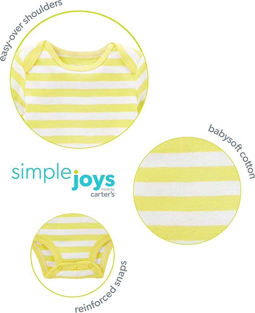 Simple Joys by Carter's Baby Boys 6-Pack Short-Sleeve Bodysuit, Navy/Turquoise, 6-9 Months