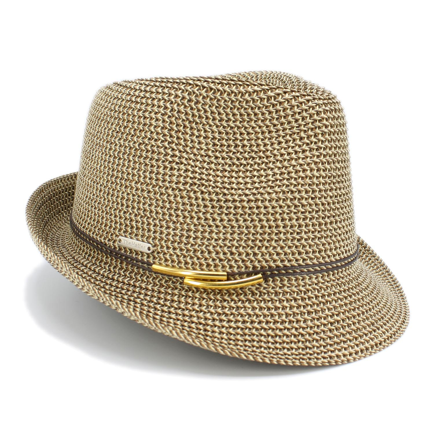 1 3/4'' Wide Brim Panama Roll up Fedora Sun Hat Beach Cap (B-Choco)