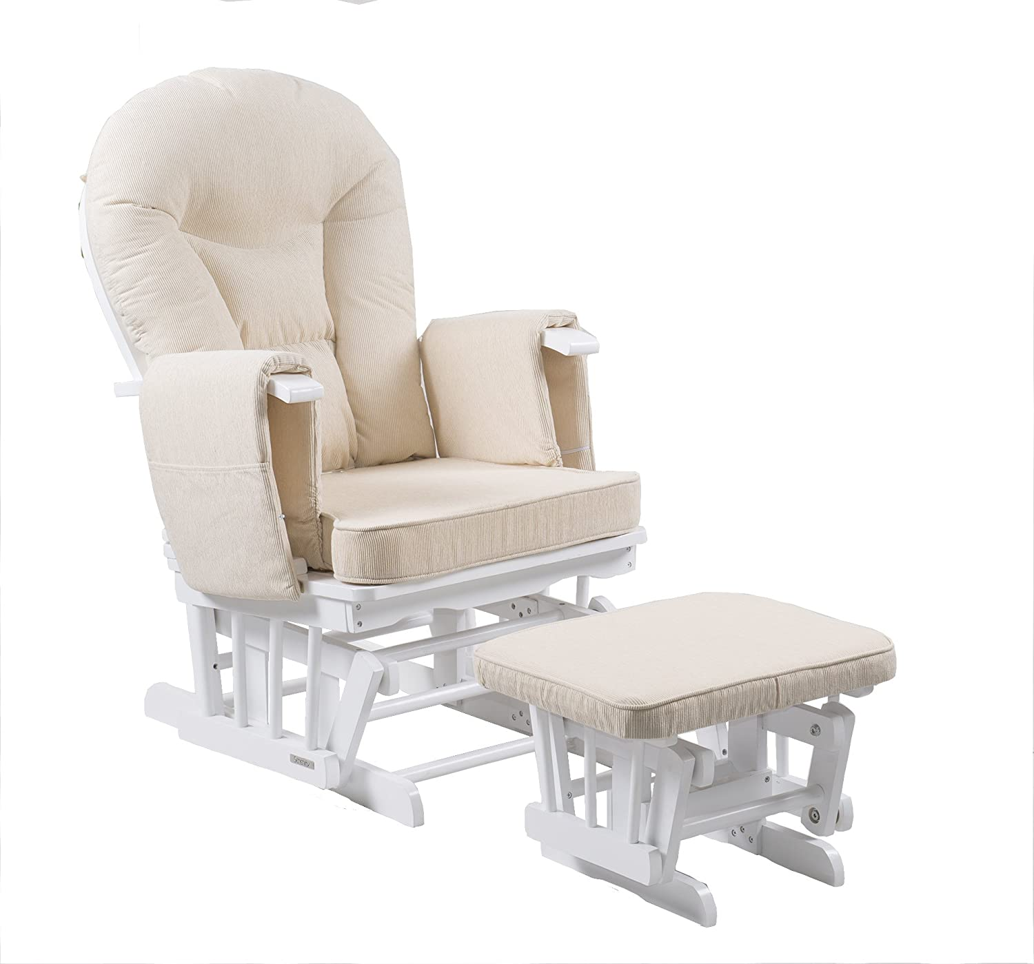 Serenity Nursing Glider maternity chair white with footstool … (White) Kidzmotion SERENITY-WHITE
