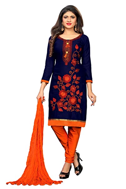 76f203775f5b PREMIUM SALES CORPORATION Women's Cotton Embroidered Churidar Dress Material(blue_Free  Size): Amazon.in: Clothing & Accessories