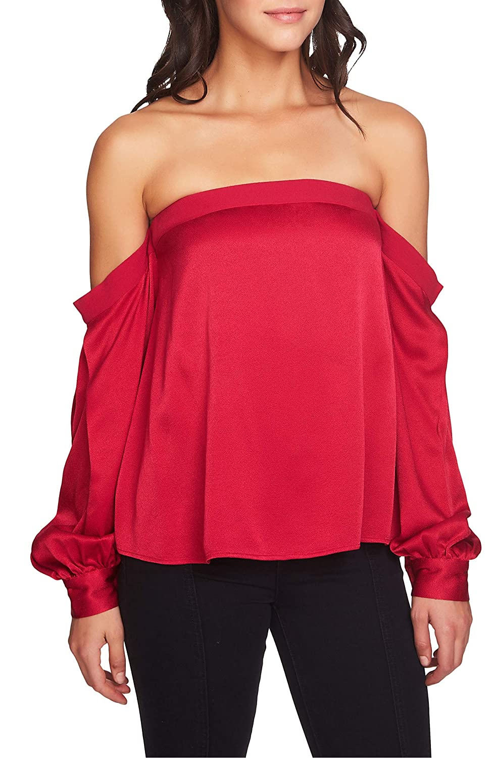 Persianred 1.State Womens Satin Knit Blouse