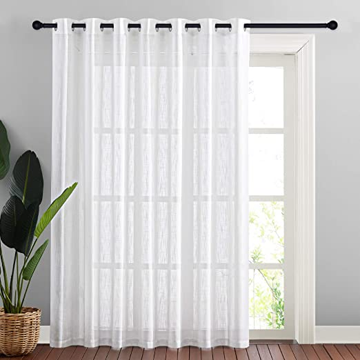 Amazon Com Nicetown Linen Like Patio Door Curtains Extra Wide Grommet Top Semi Voile Drape Sheer Panels For Sliding Glass Door White W100 X L84 1 Panel Kitchen Dining
