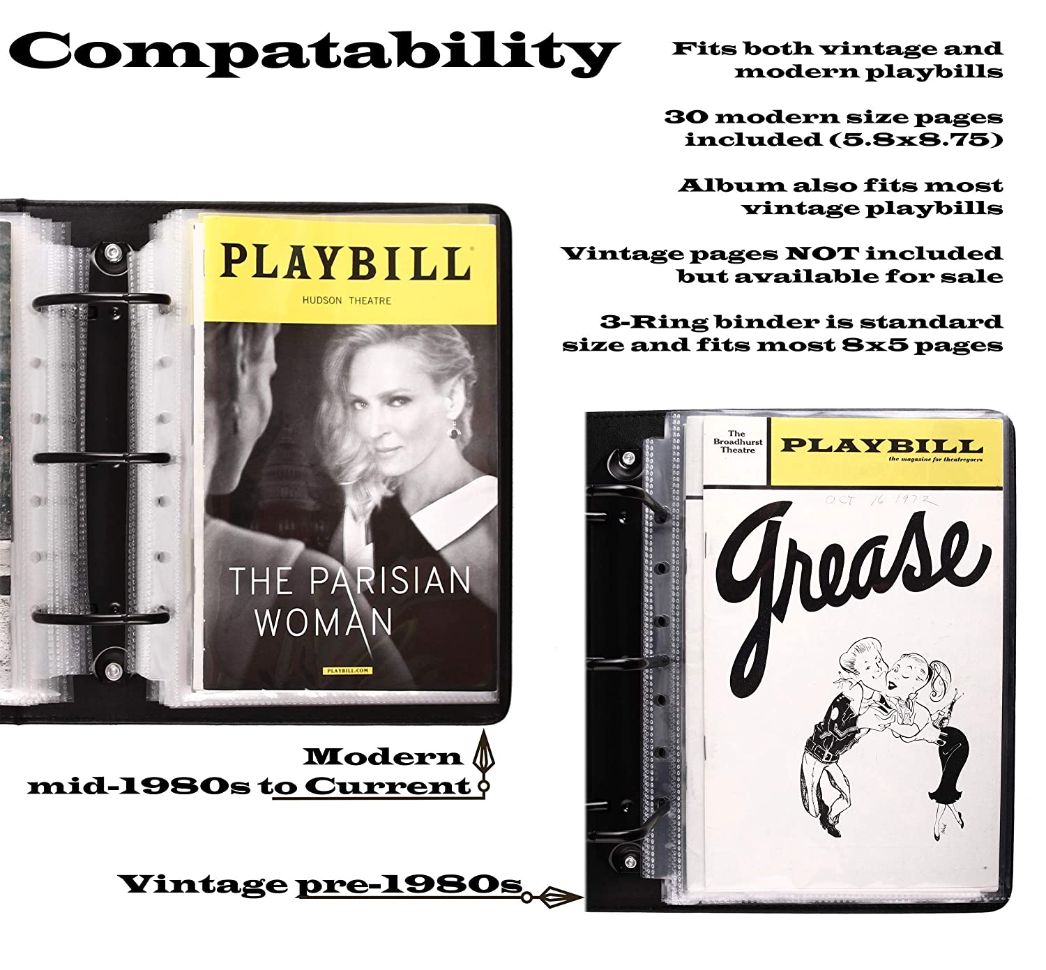 Fits Playbills from Mid 1980s to Modern Broadway Play Program and Theater Playbill Binder with 30 Custom Sheet Protectors PU Leather Yellow//Black EmbossedP