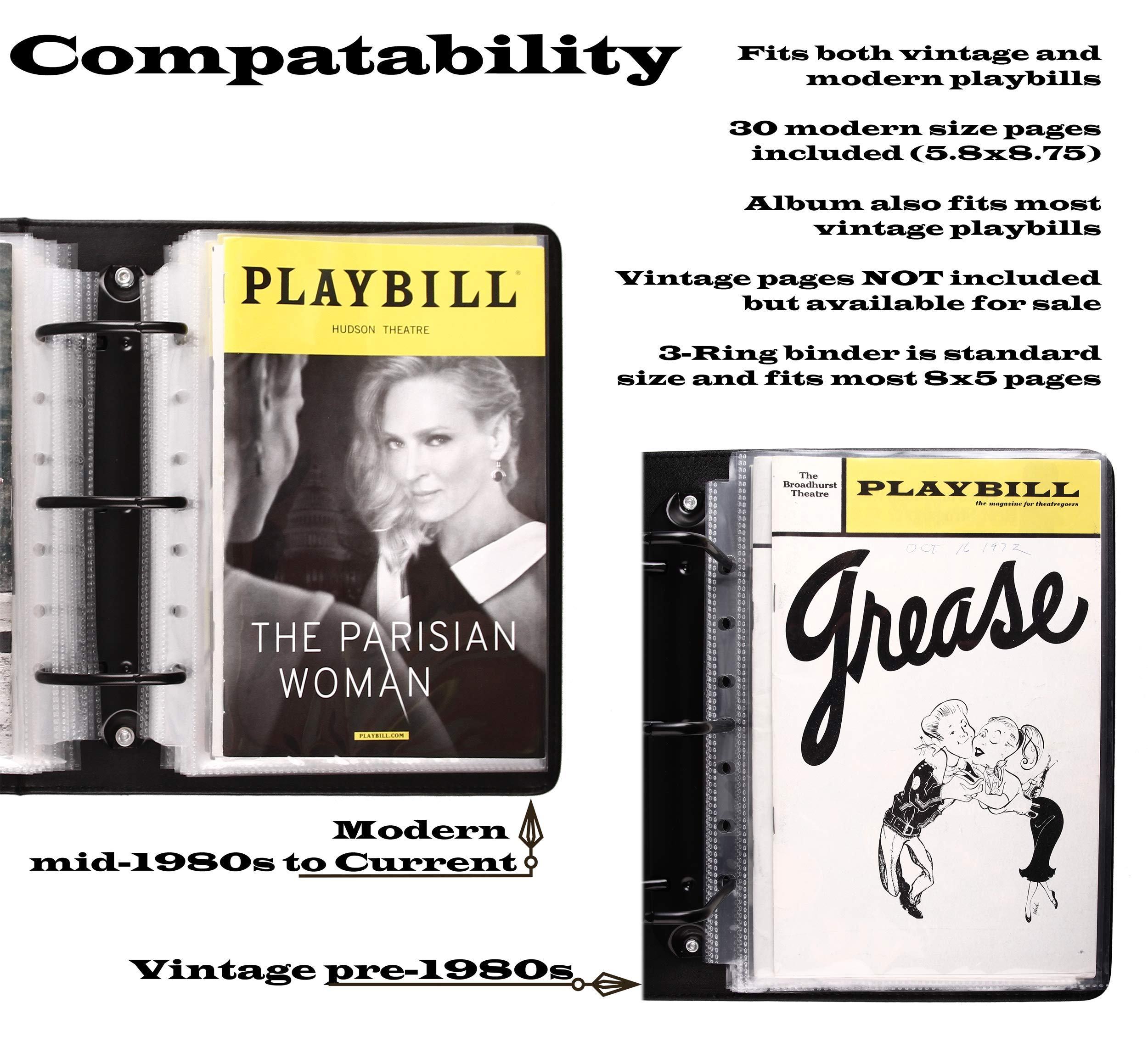 Broadway Play Program and Theater Playbill Binder with 30 Custom Sheet Protectors - PU Leather - Fits Playbills from Mid 1980s to Modern (Black EmbossedP) by 2Fold Supply (Image #5)
