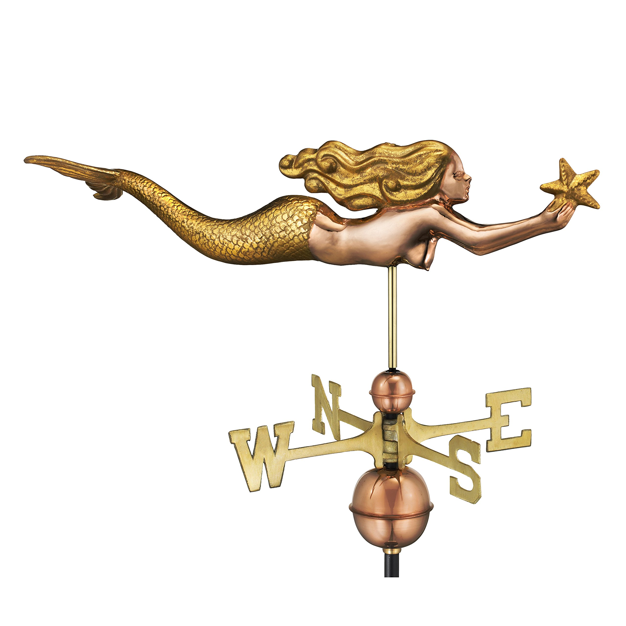 Good Directions Mermaid with Starfish Weathervane, Pure Copper with Golden Leaf Finish