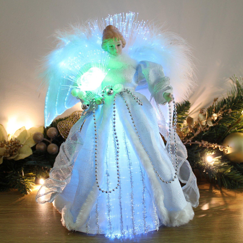 Werchristmas 30 cm fibre optic angel decoration christmas for Angel christmas tree decoration