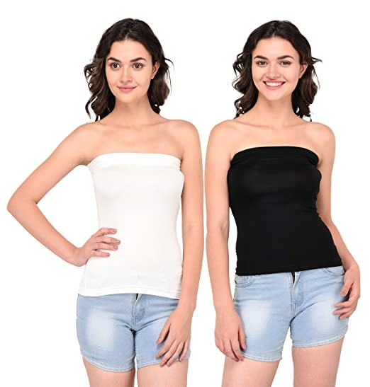 b6cfea6bf8 Espresso Women s Strapless Bandeau Tube Tops - Pack of 2 - Black White - S