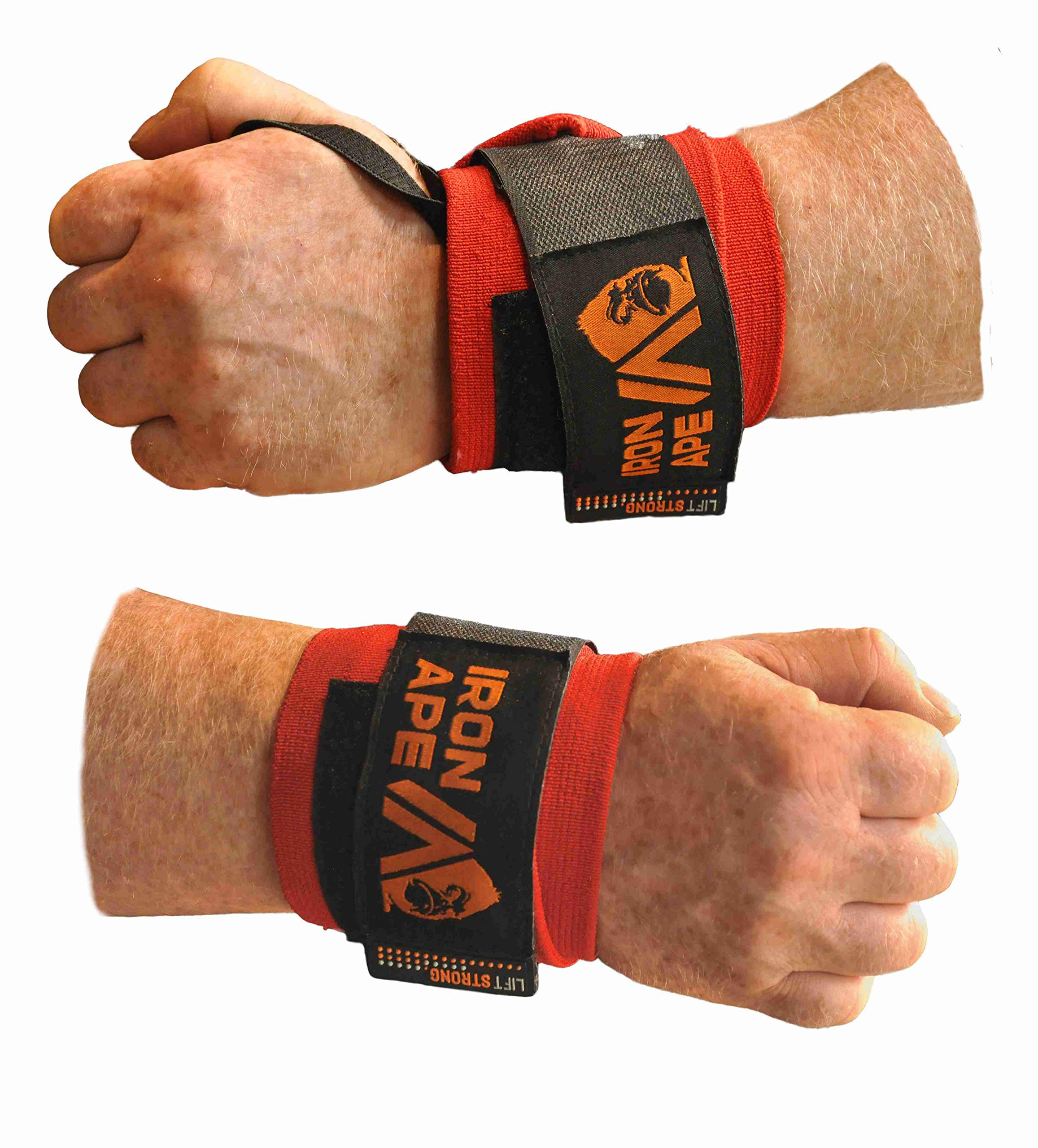 IRON APE Extra Stiff 24'' Powerlifting Wrist Wraps for Weight Lifting, and Bodybuilding. New, Improved Design for Men and Women.