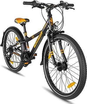Prometheus Bicicleta Infantil 24 Pulgadas | niño | niña | Bici de Aluminio | Negro Naranja Mate | a Partir de 8 años con 21 Marchas - 24