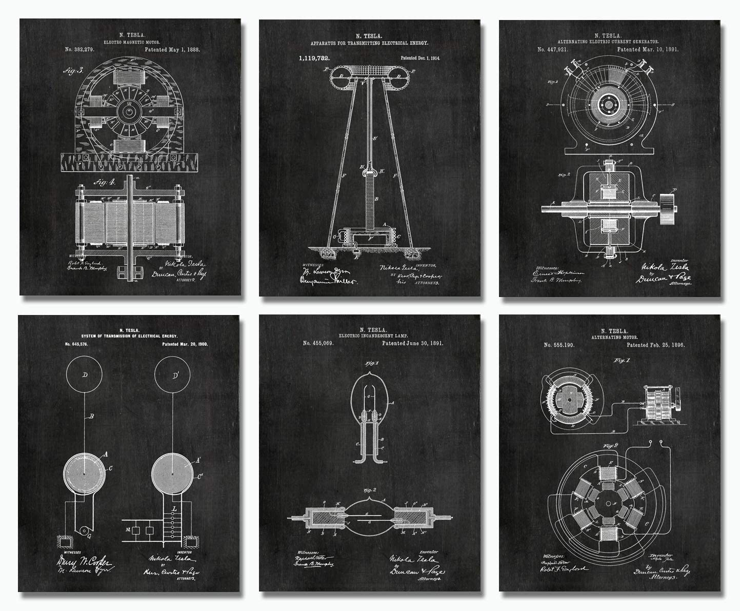"Nikola Tesla Wall Art Patent Prints (8""x10"") Set of 6 - Engineer Gifts - Geek Home Decor"