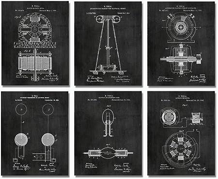 Unframed Nikola Tesla Set Of 6 Patent Prints Engineer Poster Art Decor Gift