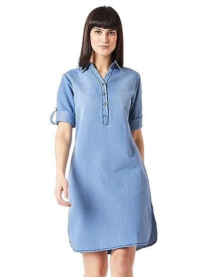 c608554c0bc Miss Chase Women s Blue Denim Shirt Dress(MCAW18DEN04-20-115-02 Blue X-