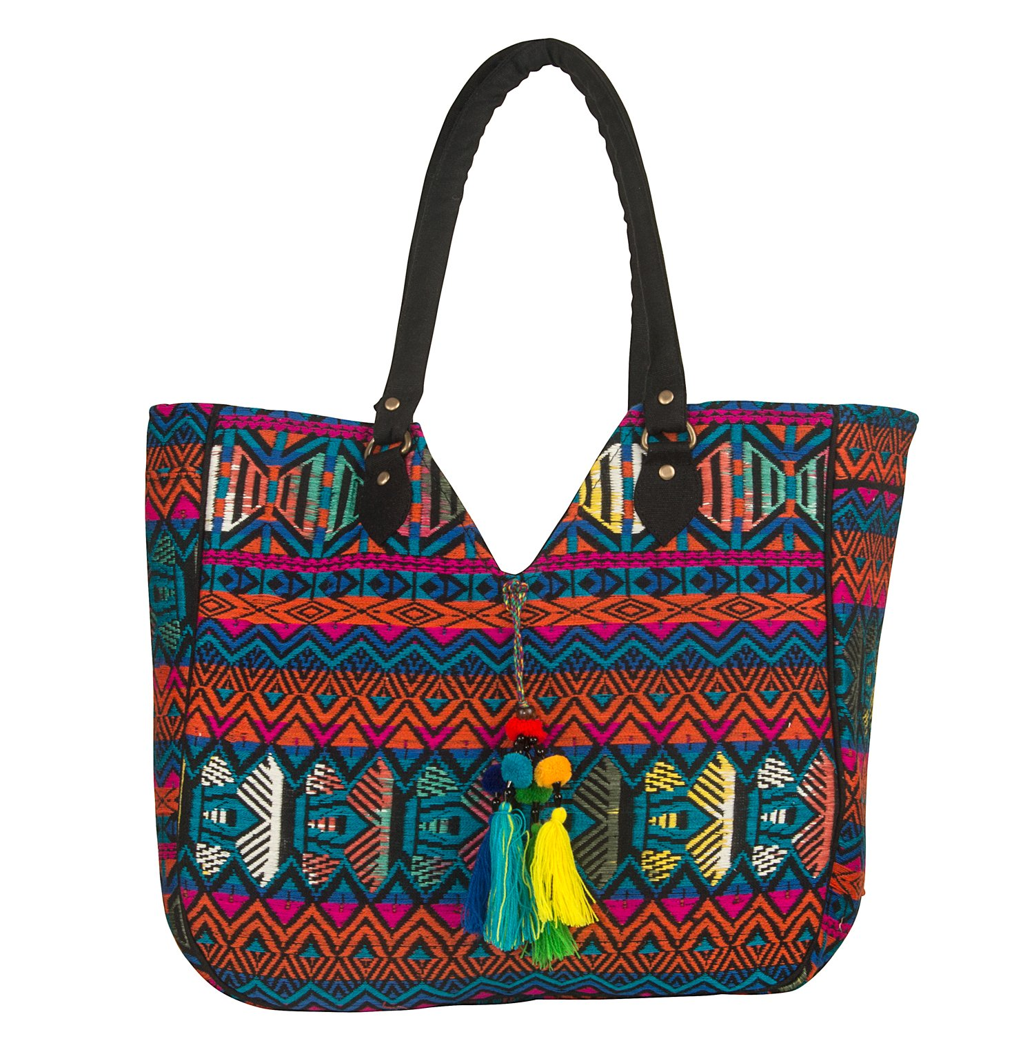 Tribe Azure Woven Shoulder Bag Tote Women Purse Summer Spring Beach School Laptop Roomy Casual Everyday