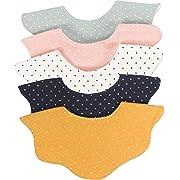 Baby Girl Boy Unisex Fabric Drooling Feeding Bibs Spring Summer (5-Pack Polka Dot)