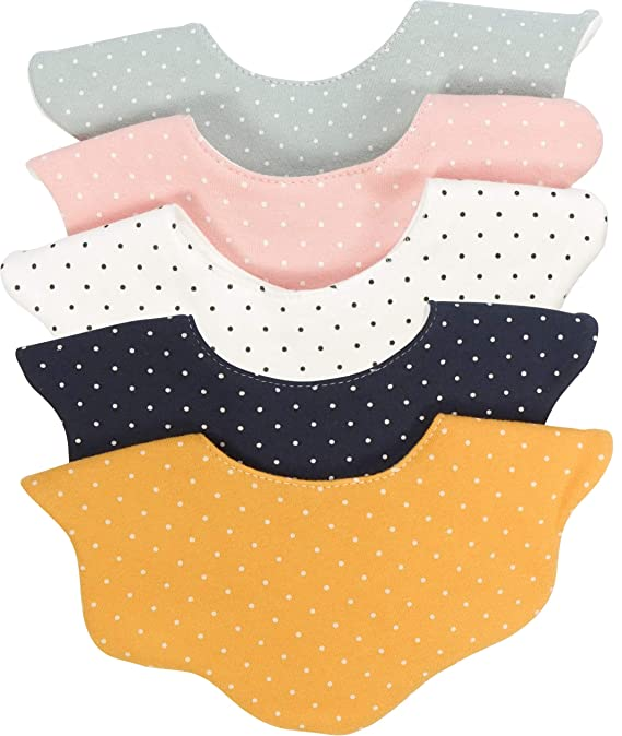 Baby Drool Bibs Fall Winter Unisex Girl Boy Drooling and Teething Absorbent (5-Pack Polka Dot)