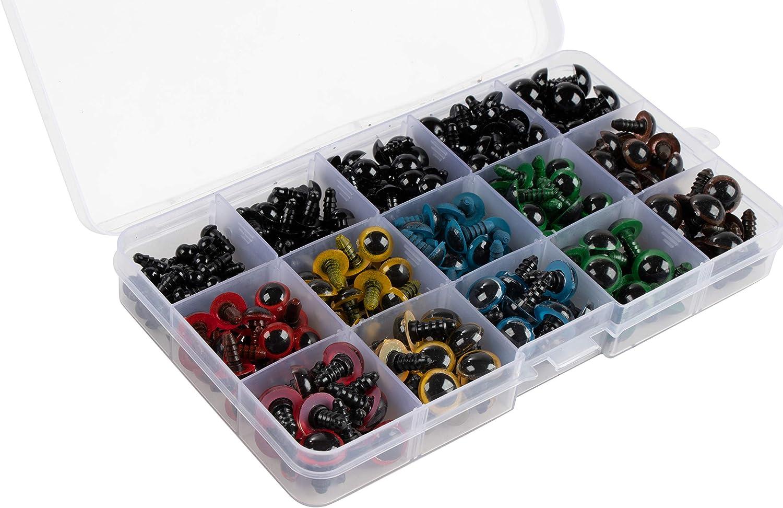 5 verschiedene Gr/ö/ßen Kunststoffaugen Sicherheitsaugen Knopfaugen 304er-Pack Puppenaugen mit Aufbewahrungsbox und Unterlegscheiben 6 verschiedene Designs