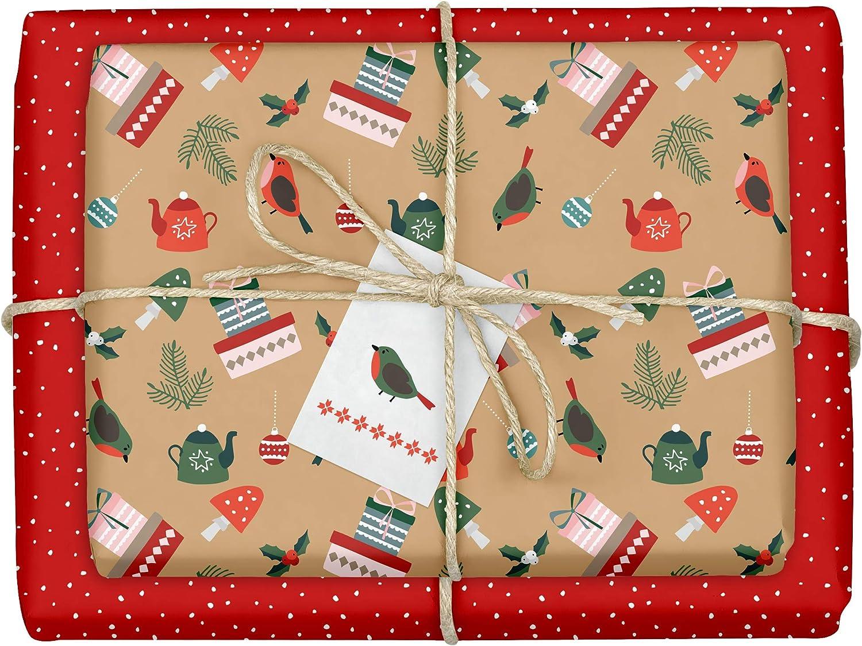 hochwertige beidseitig bedruckte B/ögen Weihnachtsgeschenkpapier edel f/ür Erwachsene Recycling-Papier 4x Geschenkpapier Weihnachten: gr/ün-wei/ße Tannenzweige inkl 4x Anh/änger im Set
