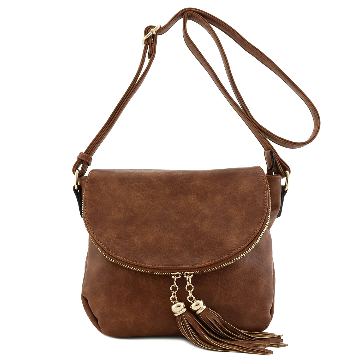 Tassel Accent Crossbody Bag with Flap Top 10478390
