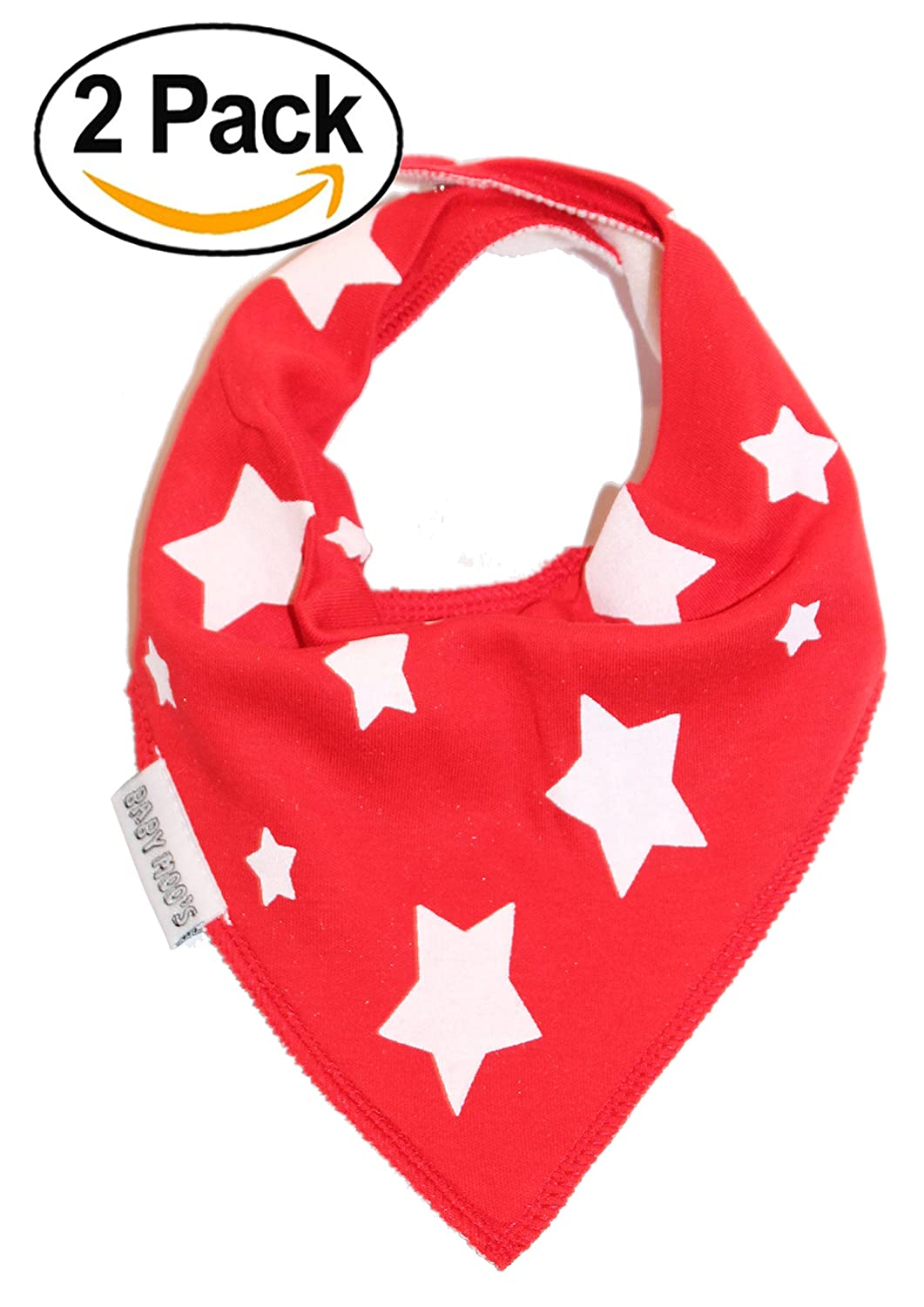 2 x AWARD WINNING Red Twinkle Stars Baby Dribble Bibs | Trendy Baby Bandana Bib [PACK of 2 | Boys or Girls | 0-3 years] Ideal New Baby Shower, Christmas or 1st Birthday Gift | by BABY MOO'S UK