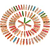Outus Mini Craft Pegs Wooden Clothespins, Assorted Colors, 100 Pieces