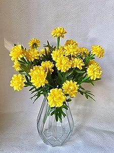 Thai Artificial Yellow Marigold Flower Bunch, Artificial Flowers, Marigold Flowers, Yellow Flower, Marigold Yellow, Calendula officinalis 3 Pieces / 1 Set
