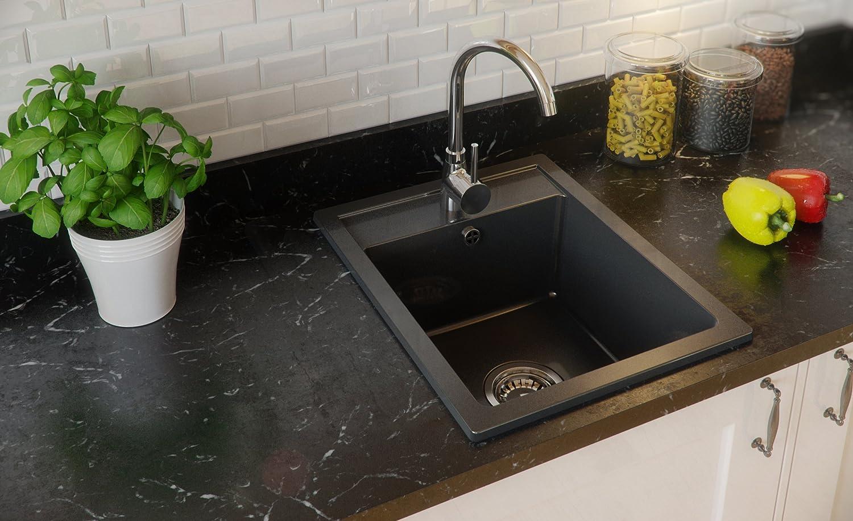 Granitspüle schwarz, 1-Becken, Siphon, Spülbecken, Küchenspüle ...