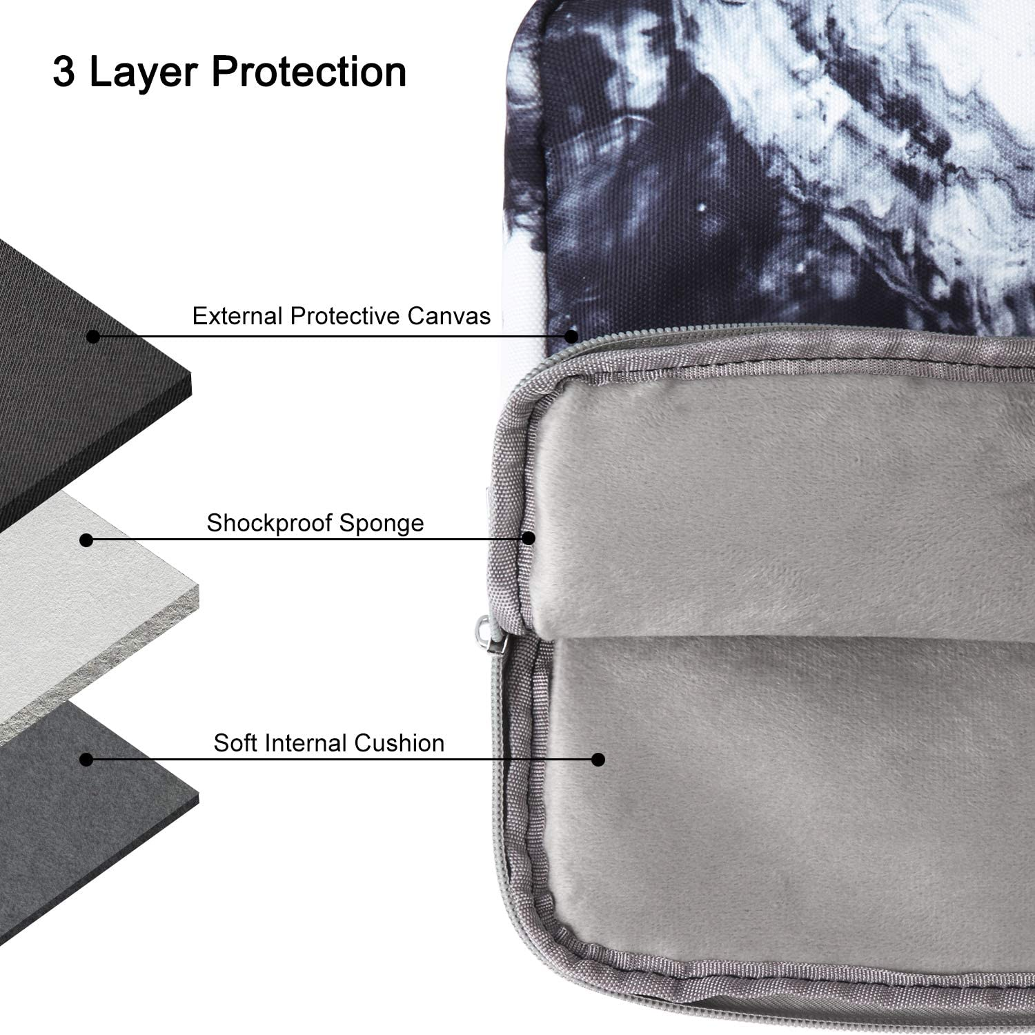 13 inch Laptop Sleeve with Pocket Marble Pattern Canvas Laptop Carrying Case Compatible 13.3 inch MacBook Air Pro Retina Surface Chromebook 12.9-inch iPad Pro Tablet Case Colorful Marble