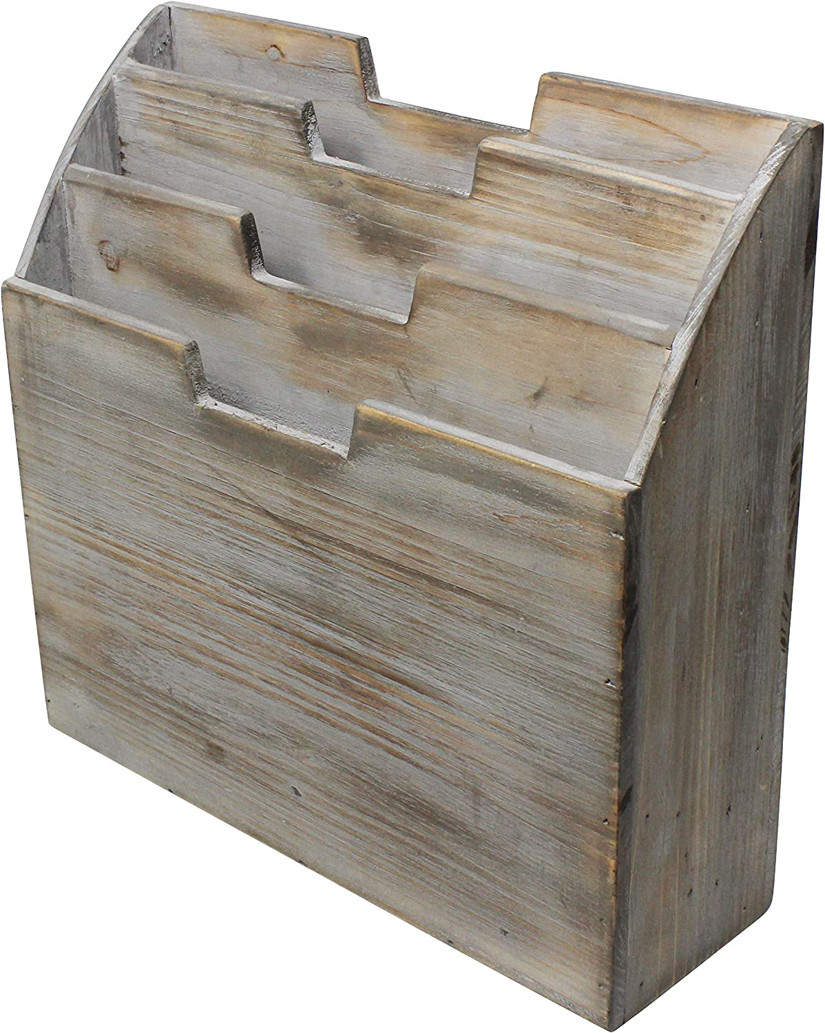 Vintage Rustic Wooden Office Desk Organizer & Vertical Paper File Holder For Desktop, Tabletop, or Counter - Distressed Torched Wood – For Mail, Envelopes, Mailing Supplies, Magazines, or File Folders