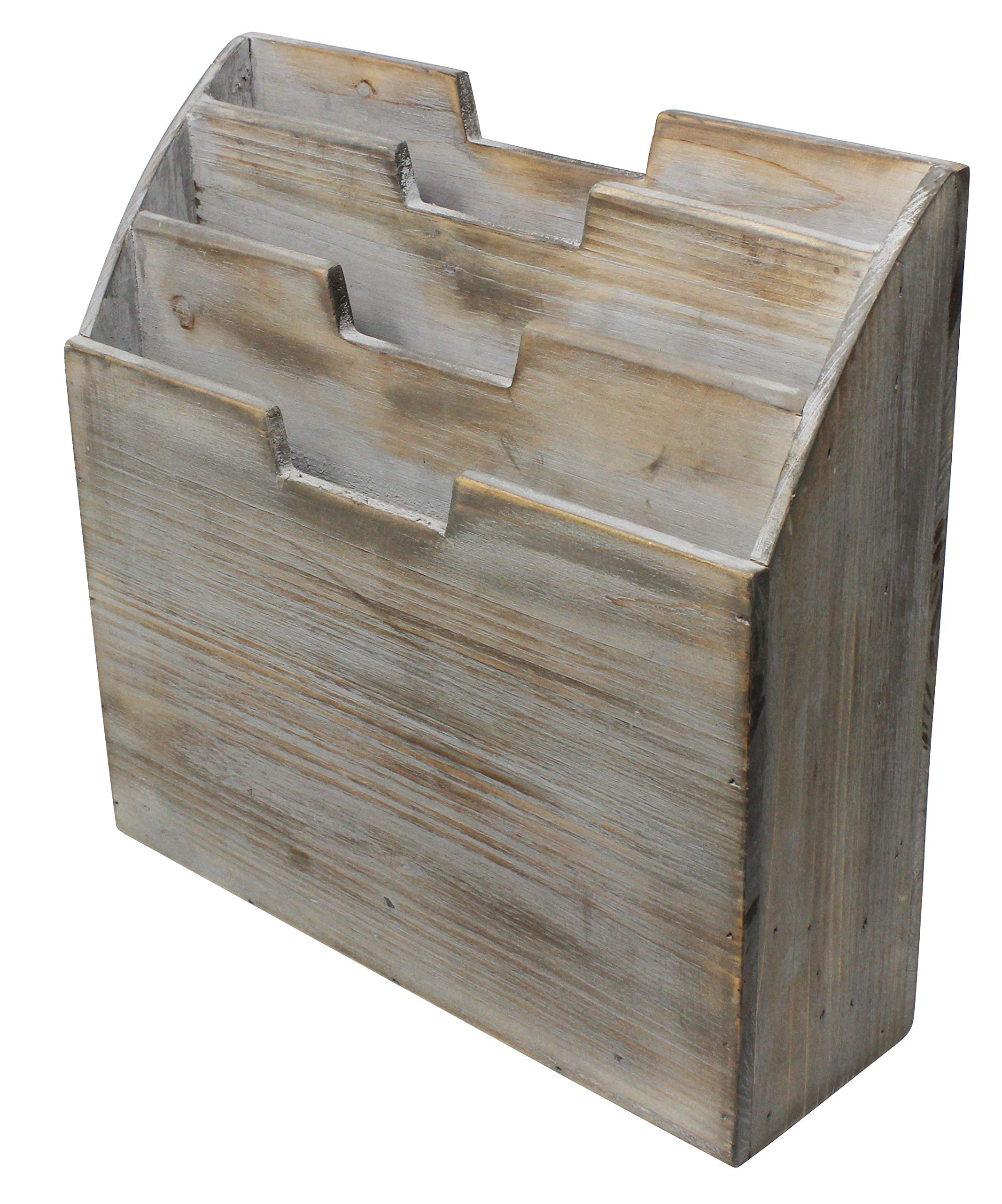 Vintage Rustic Wooden Office Desk Organizer & Vertical Paper File Holder For Desktop, Tabletop, or Counter - Distressed Torched Wood – For Mail, Envelopes, Mailing Supplies, Magazines, or File Folders