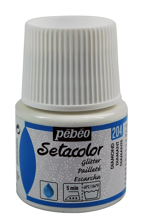 Pebeo Pebeo Setacolor Light Glitter Tessuto Vernice 45 millilitri di bottiglia, Diamante, Diamante 329204