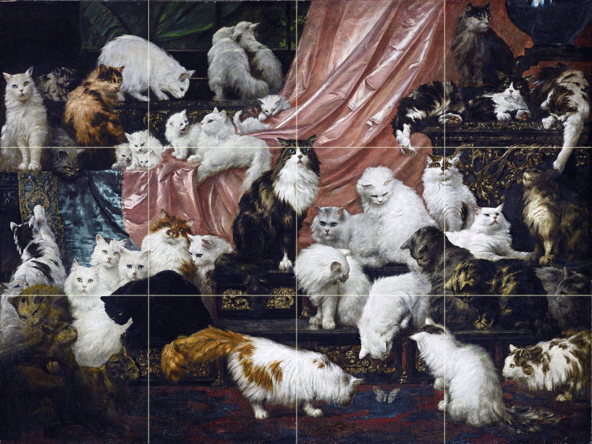 My Wife's Lovers cat kittens by Carl Kahler Tile Mural Kitchen Bathroom Wall Backsplash Behind Stove Range Sink Splashback 4x3 6'' Ceramic, Matte