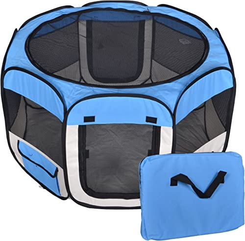 New Small Blue Pet Dog Cat Tent Playpen Exercise Play Pen Soft Crate T08