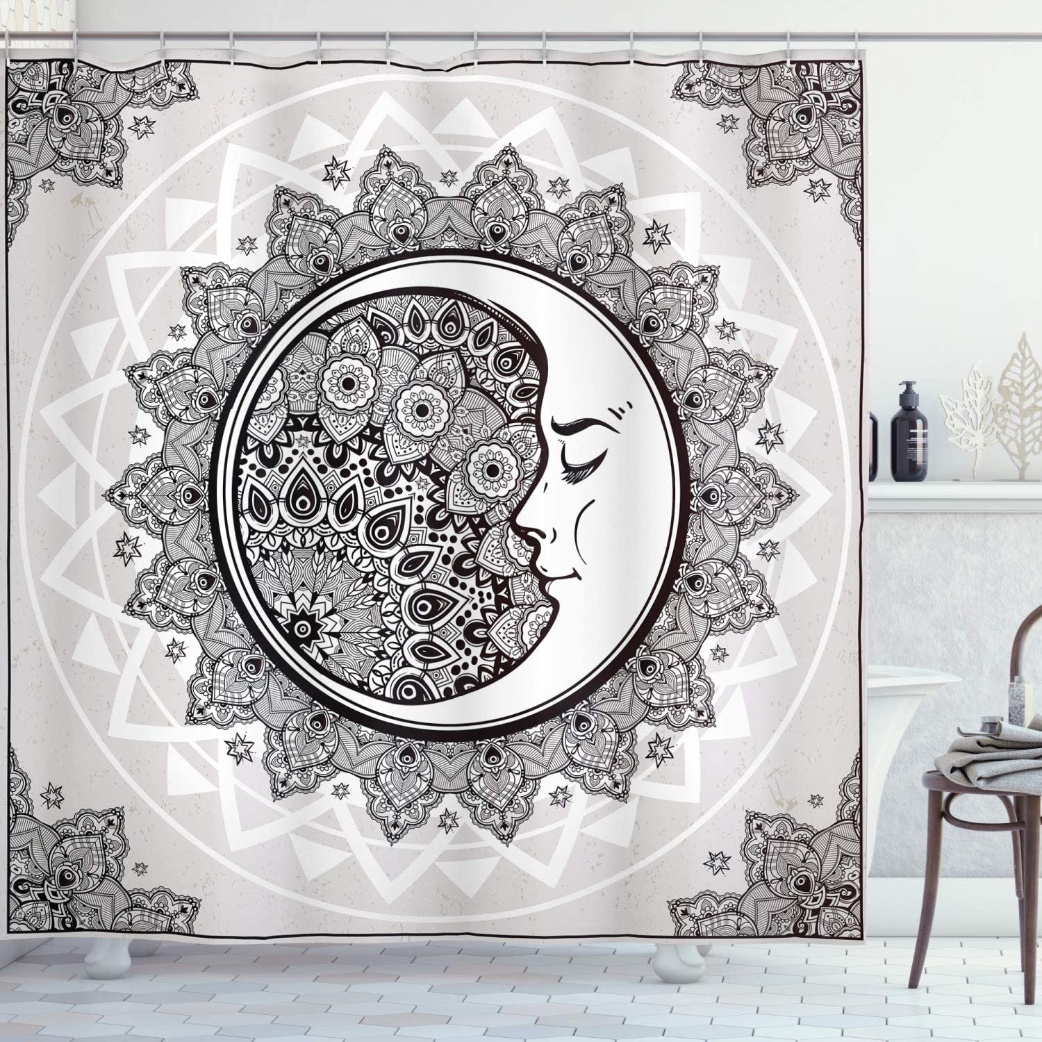 Ambesonne Mystic Shower Curtain, Ornate Crescent Moon with Stars and Mandala Eastern Graphic, Cloth Fabric Bathroom Decor Set with Hooks, 84
