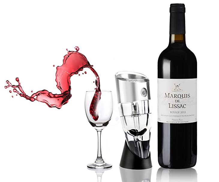 ONME Wine Aerator Pourer[FDA-Approved], Premium Adjustable 0-6 Speed Wine Aerating Pourer, Luxury Essential Decanter Pourer for White Red Wine,Include Carry Pouch and Display Stand