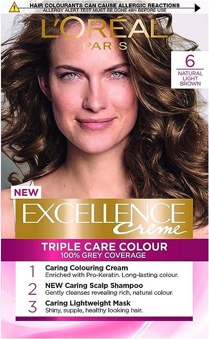 LOreal Excellence - Tinte permanente para cabello (6 unidades), color marrón claro