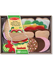 Melissa & Doug Felt Play Food Sandwich Set, Pretend Play, Easy to Clean, Includes Play Ideas, 33 Durable Pieces, 25.0952 cm H x 33.655 cm W x 8.255 cm L