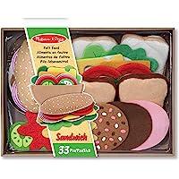 Melissa & Doug Set de alimentos de fieltro para el juego de sándwiches, juego de imitación, fácil de limpiar, incluye ideas de juego, 33 piezas resistentes, 25.0952 cm alto x 33.655 cm ancho x 8.255 cm largo