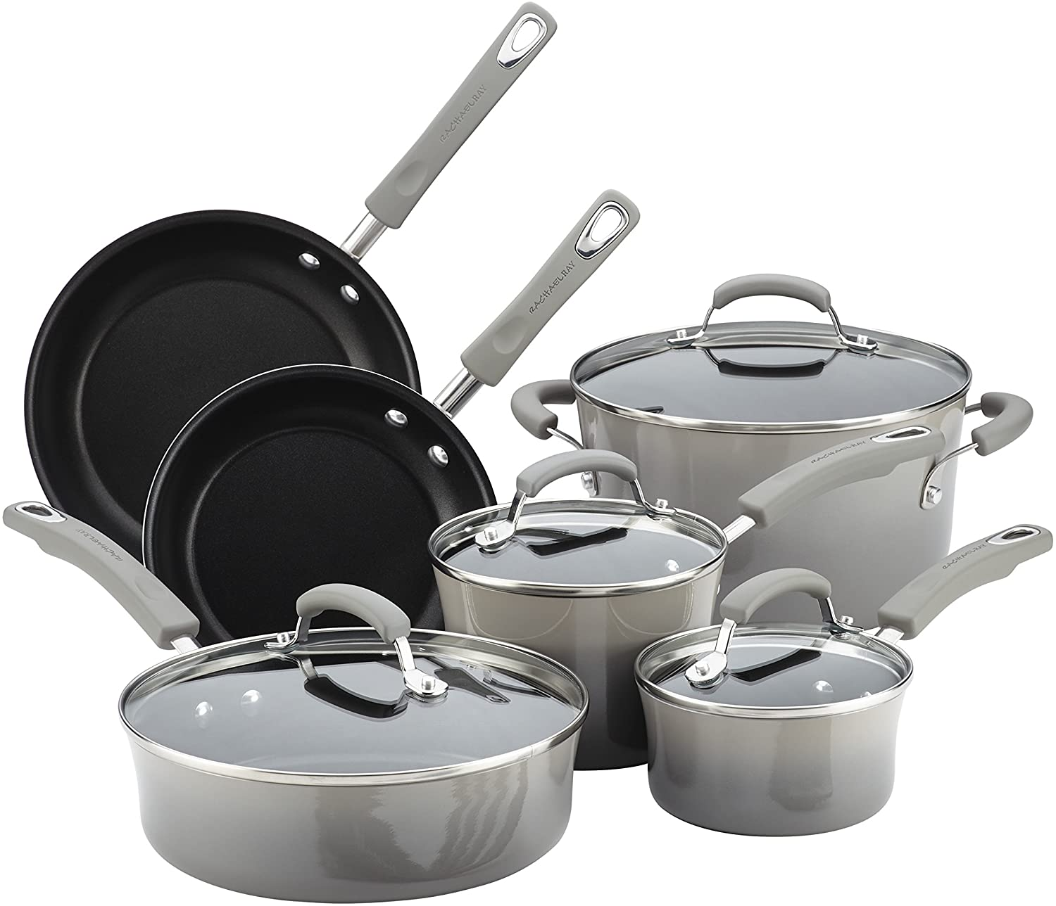 Rachael Ray Brights Nonstick Cookware Pots and Pans Set, Sea -Salt Gray
