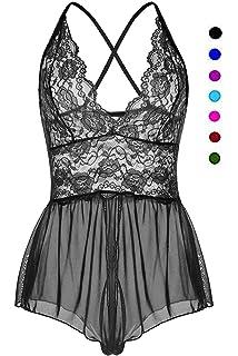 bcdf18908 ALLureLove Womens Sexy Lingerie Open Crotch Leotard Teddy Nightwear Lace  Miniskirt Babydoll