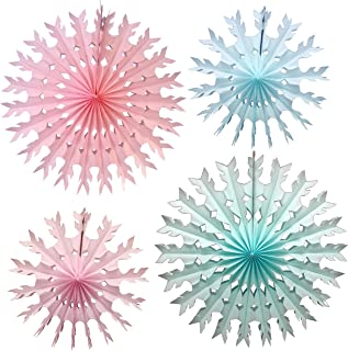 product image for 4-Piece Baby Shower Tissue Paper Snowflakes, 15-22 Inch, Pink Blue