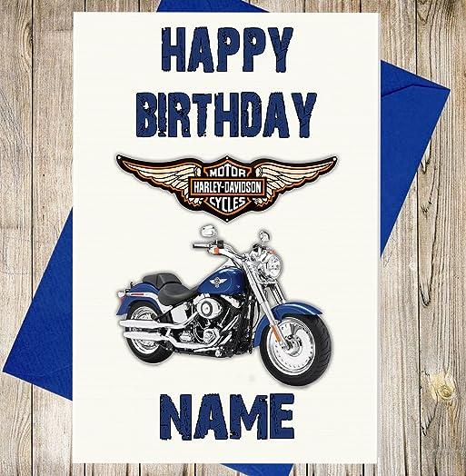 Harley Davidson Motorbike Personalised Birthday Card Any Name – Motorbike Birthday Cards