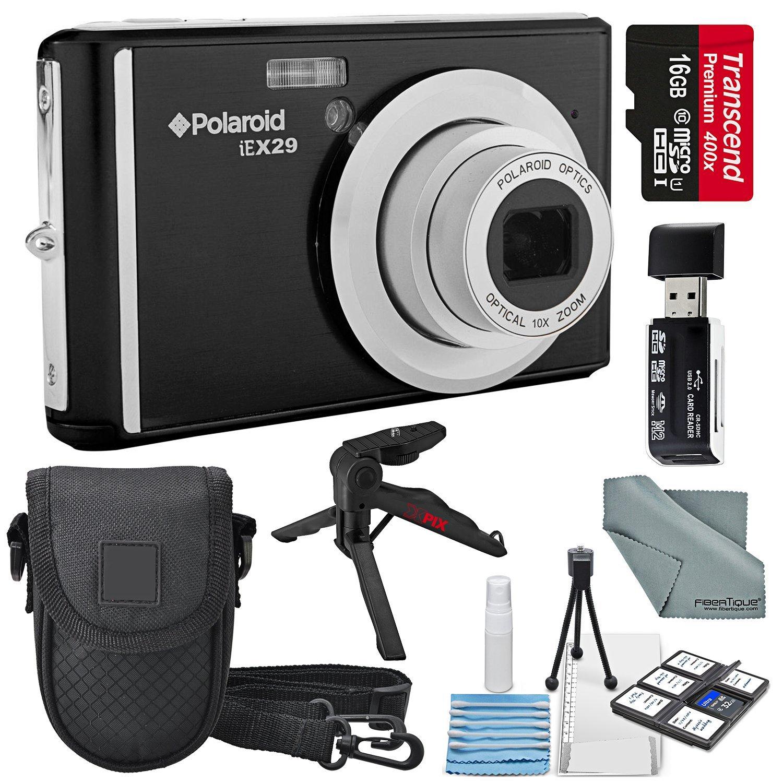 Polaroid iEX29 18MP 10x Digital Camera (Black) and Accessory Bundle W/16GB + Card Reader + Case + Xpix Tripod + Fiberitque Cleaning Cloth + Deluxe Starters Kit