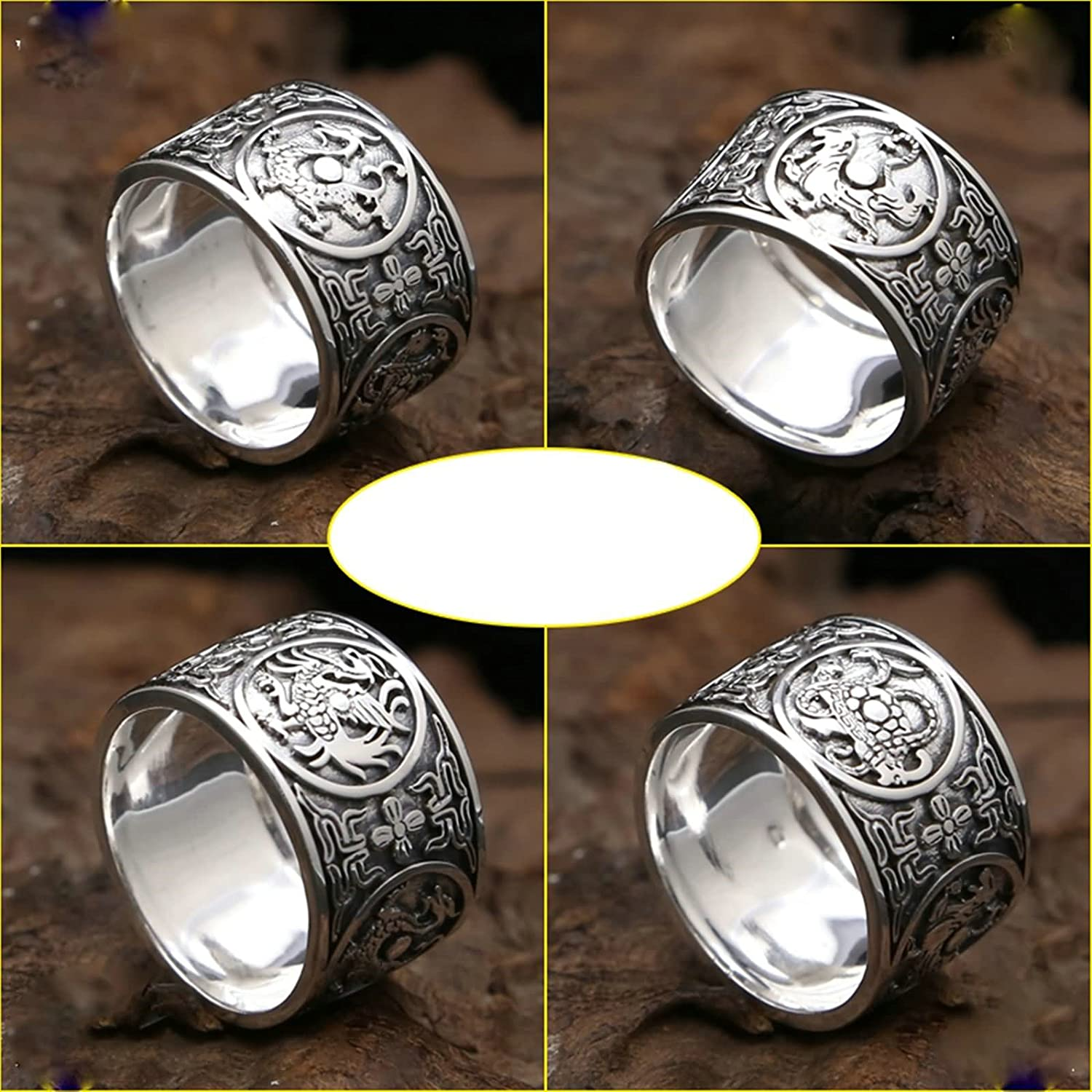 Aooaz Jewelry Ring Band for Men Silver Material Ring Retro Animal Dragon Ring
