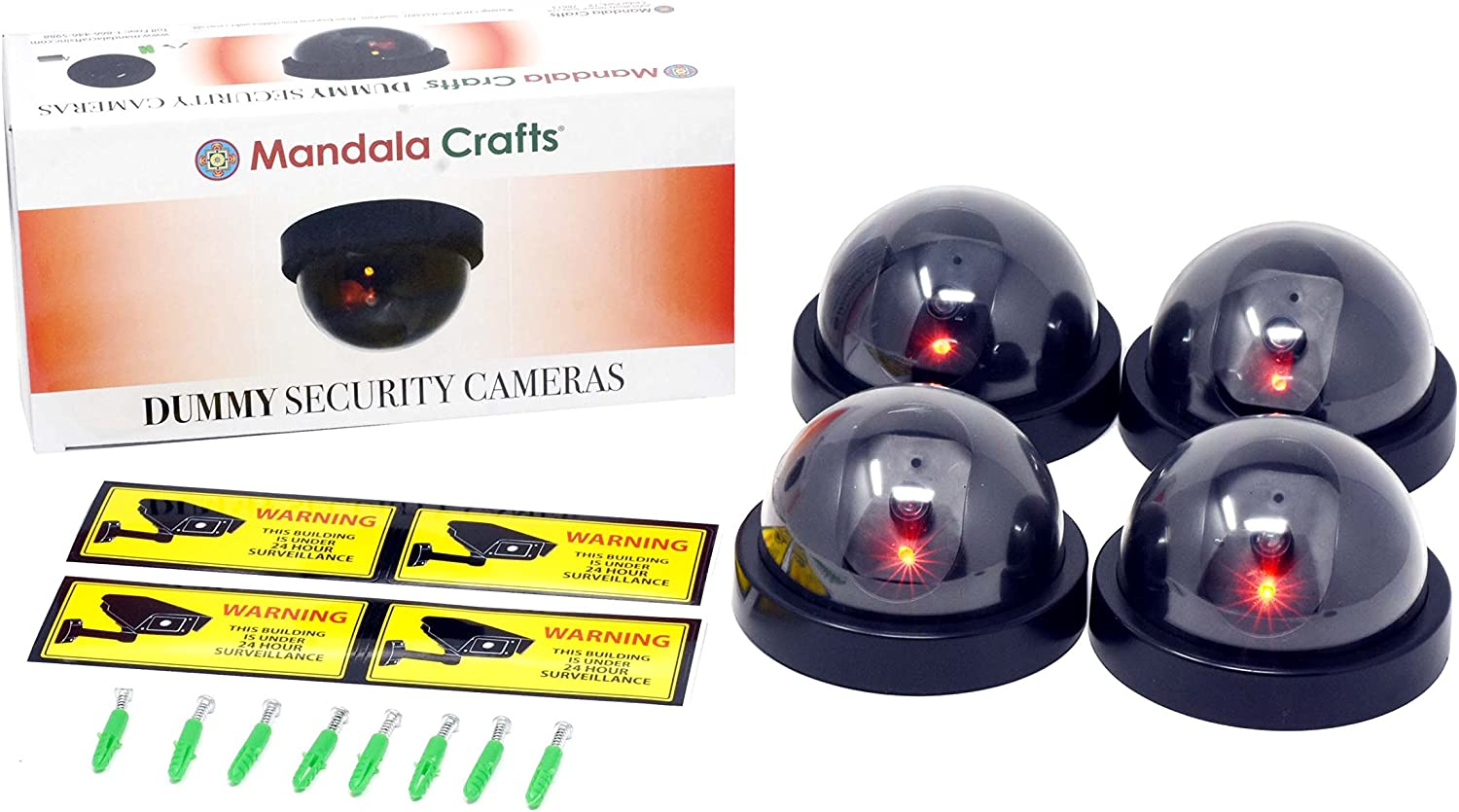 Mandala Crafts 4 Dummy Fake Security Dome Cameras with Flashing Red LED Light CCTV Alert Warning Sticker Decal Signs