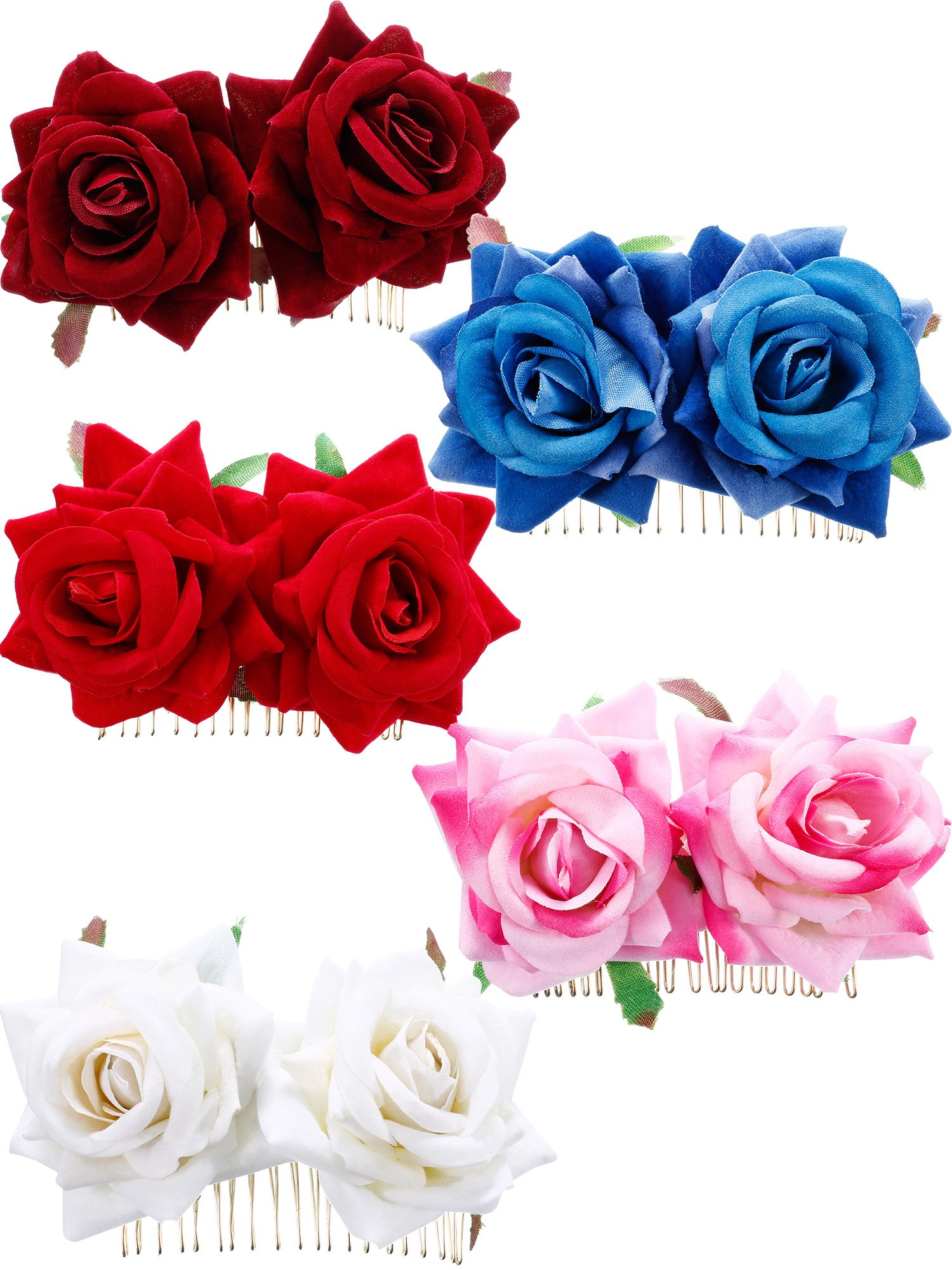 Bememo 5 Pieces Women Rose Flower Hair Clip Wedding Flamenco Dancer Rose Flower Hair Comb Accessories